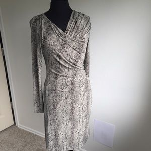 Vince Camuto Snakeprint Long Sleeve Wrap Dress SM